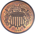 Proof Two Cent Pieces, 1866 2C PR66 Red and Brown PCGS....
