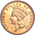 Three Dollar Gold Pieces, 1889 $3 MS65+ PCGS. CAC....