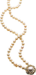 Estate Jewelry:Necklaces, Cultured Pearl, Mabe Pearl, Gold Necklace. ...