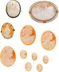 Estate Jewelry:Cameos, Shell Cameo, Gold, Silver Brooch Lot. ...