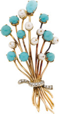 Estate Jewelry:Brooches - Pins, Diamond, Turquoise, Cultured Pearl, Gold Brooch, circa 1950. ...