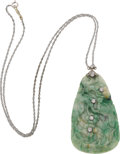 Estate Jewelry:Necklaces, Jade, Diamond, White Gold Necklace. ...