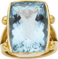 Estate Jewelry:Rings, Aquamarine, Gold Ring, Elizabeth Locke. ...