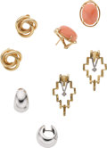 Estate Jewelry:Lots, Coral, Diamond, Gold Earrings. ...
