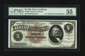 Large Size:Silver Certificates, Fr. 263 $5 1886 Silver Certificate PMG About Uncirculated 55.. ...