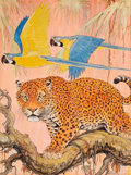 Pulp, Pulp-like, Digests, and Paperback Art, PAUL BRANSOM (American, 1885-1979). Leopard and Parrots,Saturday Evening Post cover, September 2, 1933. Charcoal andwa...