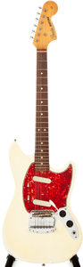 Musical Instruments:Electric Guitars, 1965 Fender Mustang Olympic White Solid Body Electric Guitar,#104627....