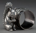 Silver Holloware, American:Napkin Rings, AN AMERICAN SILVER-PLATED FIGURAL NAPKIN RING . Maker unknown,American, circa 1875. Marks: 85. 2-1/2 inches high (6.4 c...