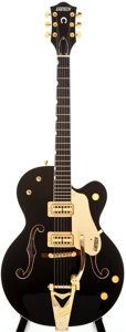 Musical Instruments:Electric Guitars, 2004 Gretsch G6120BK Black Semi-Hollow Body Electric Guitar,#JT04031520....