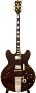 Musical Instruments:Electric Guitars, 1974-5 Gibson ES-355TD Burgundy Semi-Hollow Body Electric Guitar,#554019....