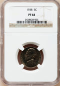 Proof Jefferson Nickels: , 1938 5C PR64 NGC. NGC Census: (151/887). PCGS Population(472/1702). Mintage: 19,365. Numismedia Wsl. Price for problemfre...
