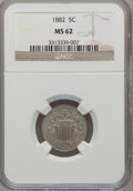 Shield Nickels: , 1882 5C MS62 NGC. NGC Census: (97/628). PCGS Population (114/829).Mintage: 11,476,000. Numismedia Wsl. Price for problem f...
