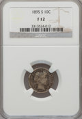 Barber Dimes: , 1895-S 10C Fine 12 NGC. NGC Census: (4/141). PCGS Population(3/150). Mintage: 1,120,000. Numismedia Wsl. Price for problem...