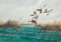 Works on Paper, JOHN DEARMAN (American, 20th Century). Ducks in Flight, 1983. Gouache and watercolor on board. 18 x 25-1/2 inches (45.7 ...