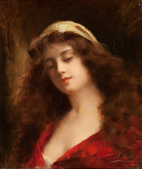 ANGELO ASTI (Italian/American, 1847-1903) Portrait of a Girl Oil on canvas 18 x 15 inches (45.7 x