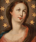 Fine Art - Painting, European:Other , CONTINENTAL SCHOOL (19th Century). Virgin Immaculata. Oil onwood panel. 14 x 12 inches (35.6 x 30.5 cm). ...
