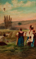 Paintings, CONTINENTAL SCHOOL (20th Century). Balloon Over the Harvest, circa 1900. Oil on canvas . 22 x 14 inches (55.9 x 35.6 cm)...