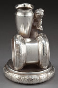 Silver Holloware, American:Napkin Rings, A ROCKFORD SILVER-PLATED FIGURAL NAPKIN RING AND BUD VASE .Rockford Silver Plate Co., Rockford, Illinois, circa 1875. Marks...