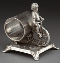 AN ADELPHUS SILVER-PLATED FIGURAL NAPKIN RING Adelphus Silver Plate Company, New York, New York, circa 1875 Ma