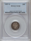 Barber Dimes: , 1907-S 10C VF20 PCGS. PCGS Population (1/127). NGC Census: (0/79).Mintage: 3,178,470. Numismedia Wsl. Price for problem fr...