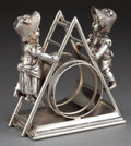 Silver Holloware, American:Napkin Rings, A SIMPSON, HALL, MILLER, & CO. SILVER-PLATED FIGURAL NAPKINRING . Simpson, Hall, Miller & Co., Wallingford, Connecticut,ci...