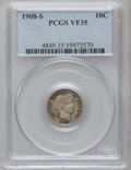 Barber Dimes: , 1908-S 10C VF35 PCGS. PCGS Population (2/135). NGC Census: (0/69).Mintage: 3,220,000. Numismedia Wsl. Price for problem fr...