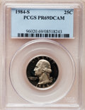 Proof Washington Quarters: , 1984-S 25C PR69 Deep Cameo PCGS. PCGS Population (3030/108). NGCCensus: (432/29). Numismedia Wsl. Price for problem free ...