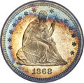 Proof Seated Quarters, 1868 25C PR66 Cameo PCGS. CAC....