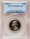 Proof Washington Quarters: , 1984-S 25C PR69 Deep Cameo PCGS. PCGS Population (3034/108). NGCCensus: (473/33). Numismedia Wsl. Price for problem free ...