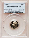 Proof Roosevelt Dimes: , 1980-S 10C PR69 Deep Cameo PCGS. PCGS Population (5120/255). NGCCensus: (455/68). Numismedia Wsl. Price for problem free ...