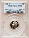Proof Roosevelt Dimes: , 1982-S 10C PR69 Deep Cameo PCGS. PCGS Population (2634/120). NGCCensus: (406/59). Numismedia Wsl. Price for problem free...