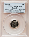 Proof Roosevelt Dimes: , 1981-S 10C Type One PR69 Deep Cameo PCGS. PCGS Population(5948/171). Numismedia Wsl. Price for proble...