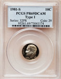 Proof Roosevelt Dimes: , 1981-S 10C Type One PR69 Deep Cameo PCGS. PCGS Population(5939/169). Numismedia Wsl. Price for problem...