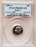 Proof Roosevelt Dimes: , 1981-S 10C Type One PR69 Deep Cameo PCGS. PCGS Population(5948/171). Numismedia Wsl. Price for problem...