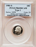 Proof Roosevelt Dimes: , 1981-S 10C Type One PR69 Deep Cameo PCGS. PCGS Population(5979/176). Numismedia Wsl. Price for problem...