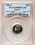 Proof Roosevelt Dimes: , 1981-S 10C Type One PR69 Deep Cameo PCGS. PCGS Population(5949/171). Numismedia Wsl. Price for problem...