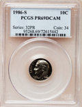 Proof Roosevelt Dimes: , 1986-S 10C PR69 Deep Cameo PCGS. PCGS Population (2717/155). NGCCensus: (261/53). Numismedia Wsl. Price for problem free...