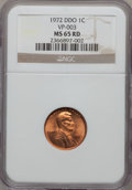 Lincoln Cents: , 1972 1C Doubled Die Obverse MS65 Red NGC. VP-003. NGC Census:(537/165). PCGS Population (1206/509). Mintage: 75,000. Numi...