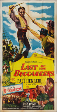 """Last of the Buccaneers and Other Lot (Columbia, 1950). Three Sheets (2) (41"""" X 81""""). Swashbuckler. ... (Total:..."""