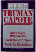 Books:First Editions, Truman Capote. Three by Truman Capote. New York: RandomHouse, [1985]. First edition, first printing. Octavo. Pu...