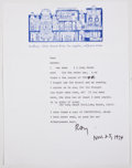 Books:Signed Editions, Ray Bradbury. Typed Letter Signed and on Author's Letterhead. Single page and dated 1974. Letter from Bradbury to Ba...