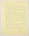 """Books:Signed Editions, Elmore Leonard. Two Autograph Letters Signed """"Dutch"""". Single page each and undated, though envelopes are postmarked 1998-199..."""