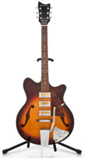 Musical Instruments:Electric Guitars, 1960's Bradford 3 Pickup Sunburst Semi-Hollow Body Electric Guitar...