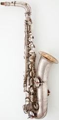 Musical Instruments:Horns & Wind Instruments, 1922 Conn Silver Tenor Saxophone #94749...