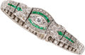 Estate Jewelry:Bracelets, Art Deco Diamond, Emerald, Platinum Bracelet. ...