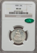Seated Quarters, 1858 25C MS64 NGC. CAC....