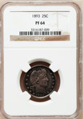 Proof Barber Quarters: , 1893 25C PR64 NGC. NGC Census: (56/127). PCGS Population (50/93). Mintage: 792. Numismedia Wsl. Price for problem free NGC/...