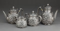 Silver Holloware, American:Tea Sets, A GORHAM FOUR-PIECE SILVER TEA AND COFFEE SET . Gorham Manufacturing Co., Providence, Rhode Island, 1880. Marks: (lion-ancho... (Total: 4 Items)