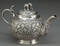 Silver Holloware, Continental:Holloware, A COLONIAL INDIAN SILVER TEA POT . Maker unknown, probably Lucknow,India, circa 1890 . Unmarked. 5 x 8 inches (12.7 x 20.3 ...