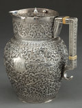 Silver & Vertu:Hollowware, A COLONIAL INDIAN SILVER PITCHER WITH COVER . Maker unknown, probably Kutch, India, circa 1890. Unmarked. 7 x 6 inches (17.8...